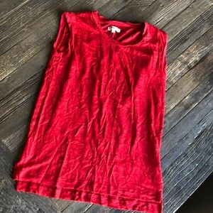 Madewell red xs linen muscle tee